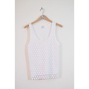 J. Crew Factory White Tiered Dot Tank Top